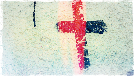 close ups: Red light on cross paint sign on rustic wall background