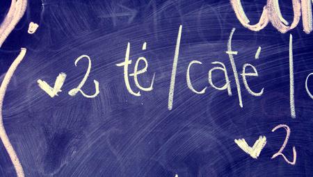 close ups: Tea and coffee words on menu blackboard written with chalk
