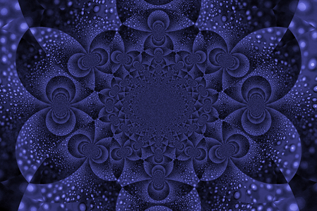 close ups: Dark blue symmetric fractal abstract background