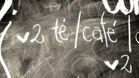 bn: Coffee shop menu letters of chalk on blackboard