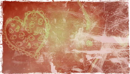 oldish: Grungy background with heart drawing