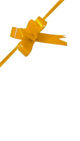 aniversary: Golden present ribbon isolated on white background