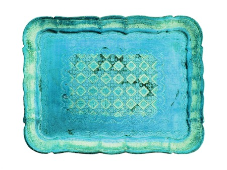 Turquoise wood tray antiquity on white background