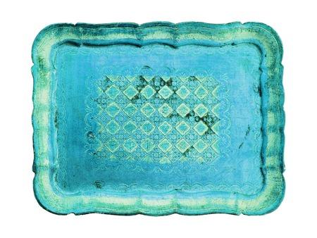 antiquity: Turquoise wood tray antiquity on white background
