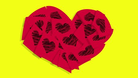 love notes: Red heart of love notes