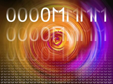 rotations: Binary system creating the original om mantra on energy colourful abstract background