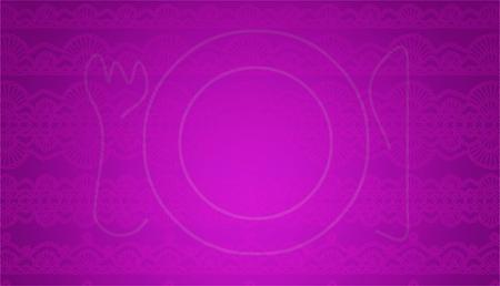manjar: Fondo púrpura textura sutil ganchillo con un tenedor y cuchillo placa
