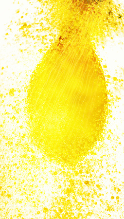 submerging: Yellow paint drop in water background macro
