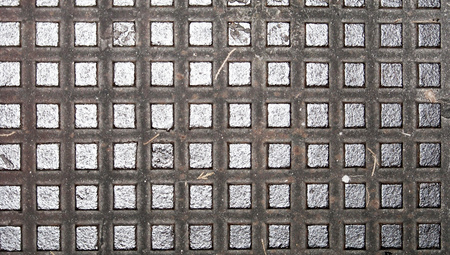 macrophotography: Metallic squares pattern close up abstract background Stock Photo
