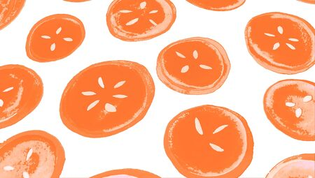 grapefruits: Red grapefruits illustration of circular slices isolated on white background
