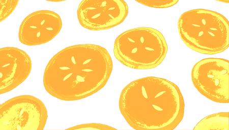 yellowish: Oranges serigraphy draw isolated on white background