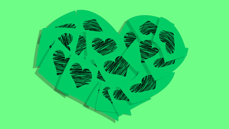 love notes: Green love notes hearts