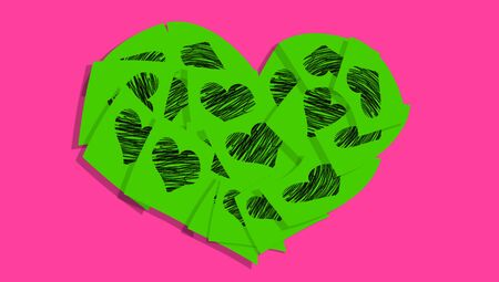 posted: Green love notes heart on pink Stock Photo