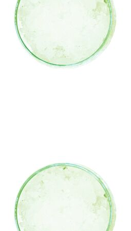 closeups: Ice water drink glasses couple from top view on white background Stock Photo
