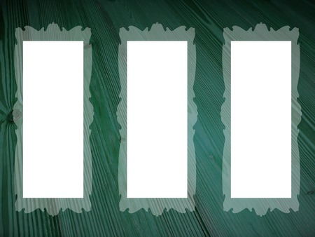 greenish blue: Three empty frames rectangles background Stock Photo