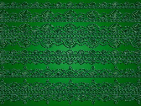 needle laces: Dark elegant green christmas abstract background of vintage crochet pattern