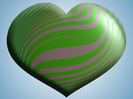 aniversaries: Green 3d heart balloon on blue sky