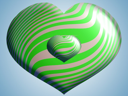 cian: 3D Hearts of green and silver stripes