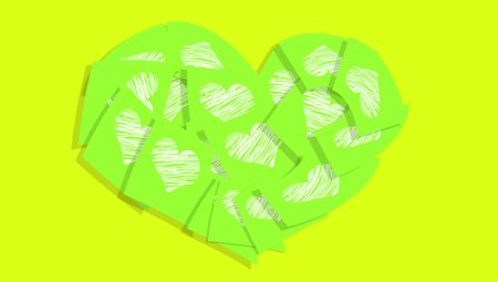 communicated: Green hearts office posting papers Stock Photo