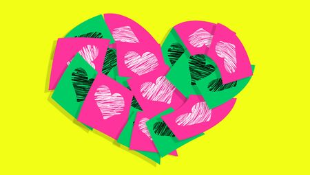 romance: Office romance messages of love in paper notes with hearts