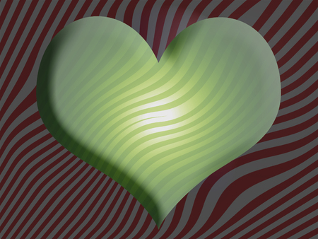 green heart: Green heart with stripes background
