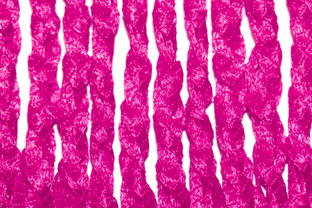 needle laces: Pink silk knitting knots abstract background textile close up Stock Photo