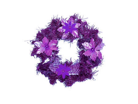 folliage: Purple xmas ornament circle with lilac flowers isolated on white