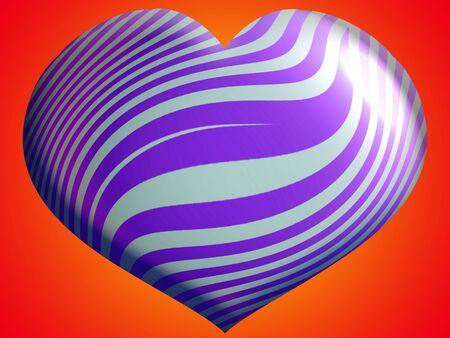 3d heart: Colorful striped 3D heart shape balloon