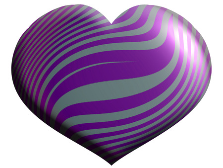 striped texture: Heart balloon of violet striped texture isolated on white background Stock Photo