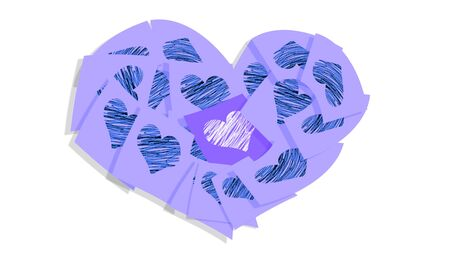 february 1: Blue papernotes heart love symbol isolated on white background