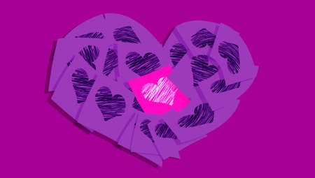 posted: Purple love symbols of hearts on notes