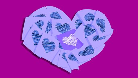 communicated: Blue heart of notes on purple abstract background symbol