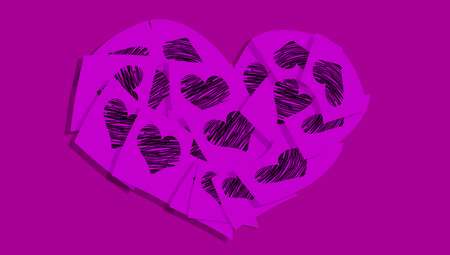 february 1: Purple heart abstract background of hearts papers notes