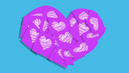 posted: Purple paper notes love heart symbol