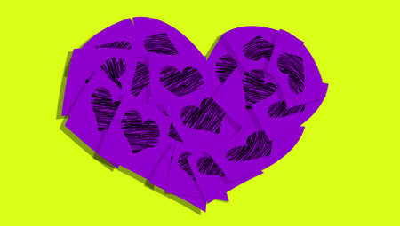 february 1: Purple adhesive paper notes heart shape with love