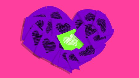 february 1: Posted love symbol of office supplies Stock Photo
