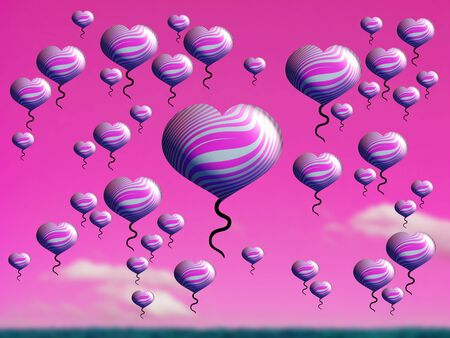 multiplying: Purple flying hearts fantasy Stock Photo