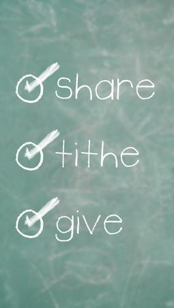generosidad: Compartir, diezmo, dan, la generosidad y la lista de la prosperidad Foto de archivo