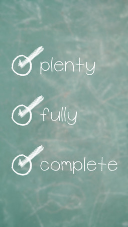 verified: Plenty, fully, complete, verified words list Stock Photo