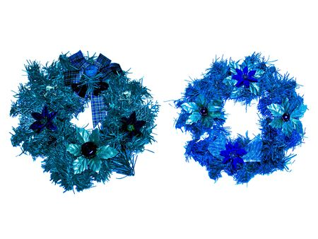 christmas ornamentation: Blue xmas crowns couple isolated on white background