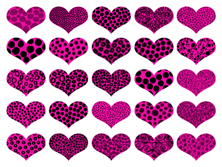 naif: Pink hearts illustrations set isolated on white background