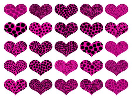 metaphoric: Pink hearts illustrations set isolated on white background