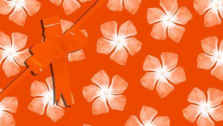 aniversary: Orange present background Stock Photo