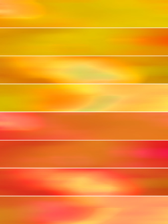 sequences: Orange blurs banners abstract backgrounds set Stock Photo