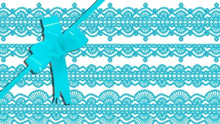 b day gift: Blue gift background of laces design with ribbon