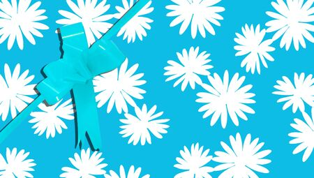 b day party: Blue present ribbon and giftbox paper with flowers