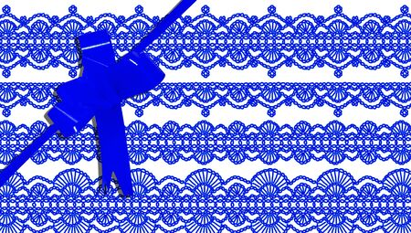 purls: Present background with ribbon and crochet design in blue Stock Photo