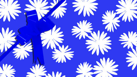 aniversary: Blue ribbon and gift paper background with flowers