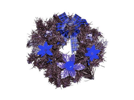 folliage: Blue xmas flowers on a crown isolated on white Stock Photo