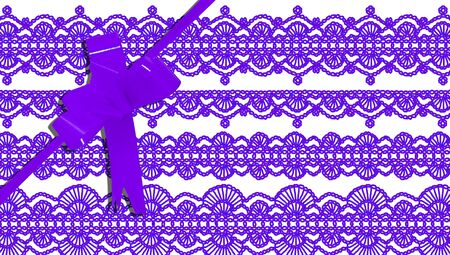 purls: Purple present ribbon and background of elegant laces Stock Photo